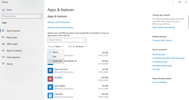 Sort apps as Install date