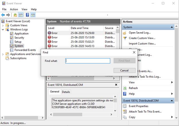 find option in system error log