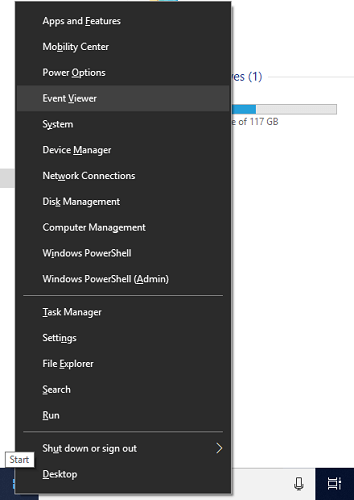 right click on start menu and select event viewer