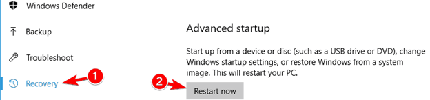 restart now under Advanced Startup option