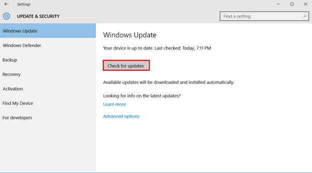 windows check for up to date