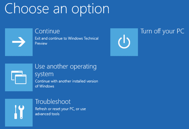 choose an option for troubleshoot