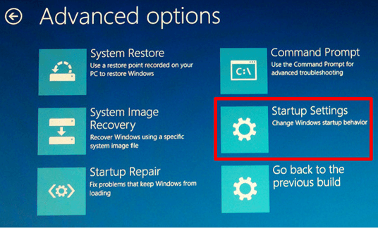 startup setting from advance options