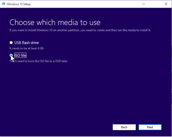 choose the ISO file option for setup windows 10