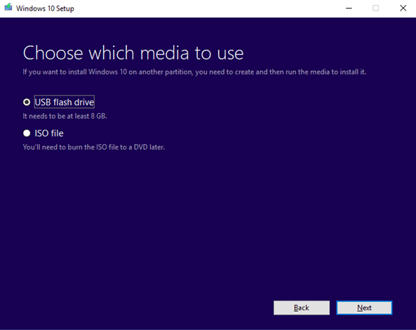 media to use for windows setup