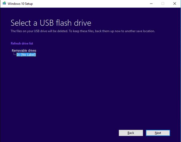 select usb flash drive for windows 10 setup
