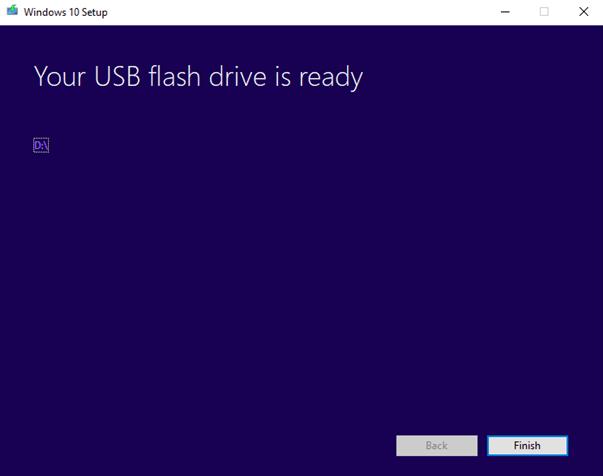 USB flash drive is ready