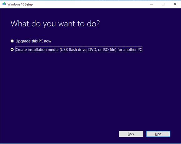 create installation media for windows setup