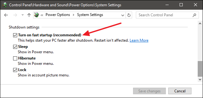 power option system setting