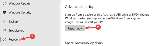 Recovery Advanced startup
