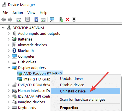 uninstall graphic device driver
