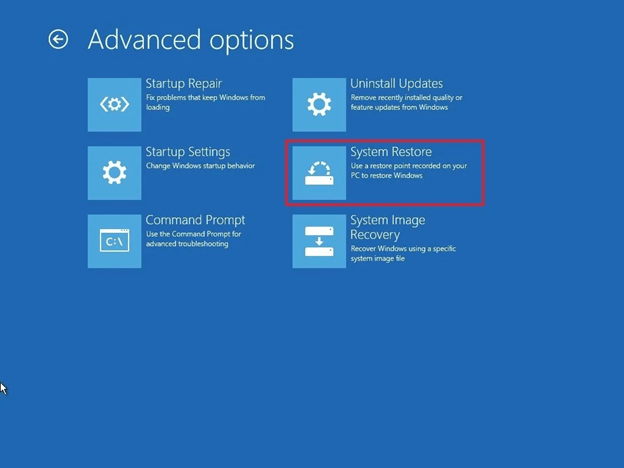 choose system restore option from advance options