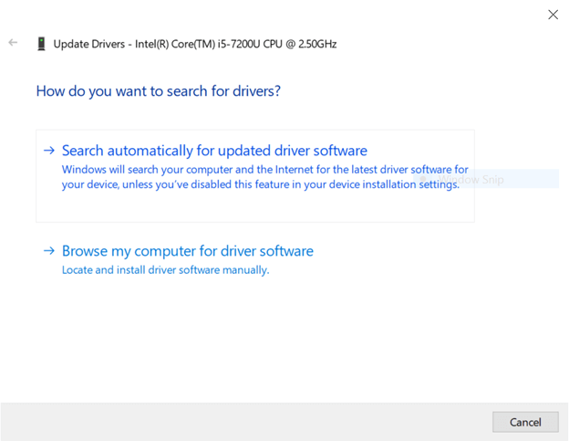 search automatically for updated driver software for graphic