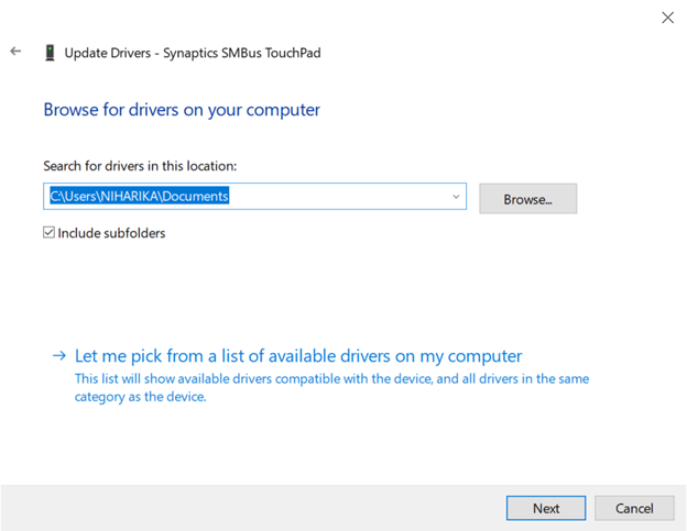 browse for Synaptics SMBus touchpad driver location