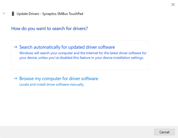 search automatically for update synaptics SMBus touchupad driver