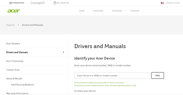 acer drivers and manuals
