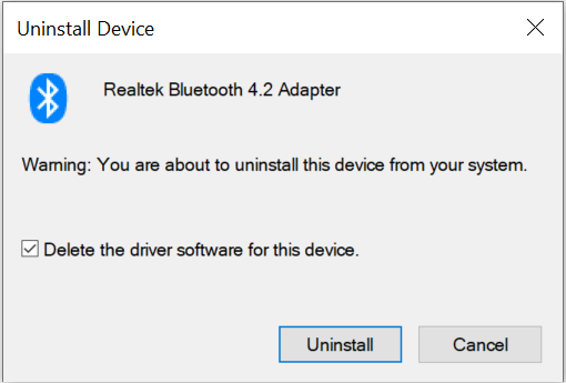 delete the driver software for realtek bluetooth adapter