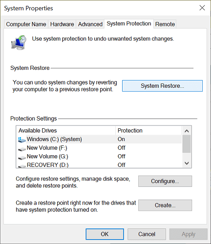 System Protection tab in system restore
