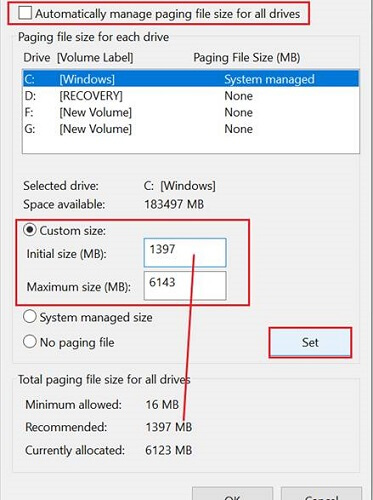 automatically & custom virtual memory
