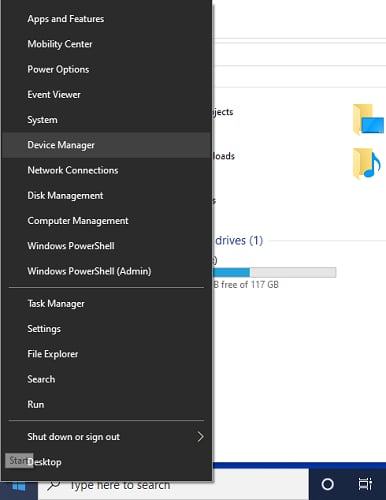 right click on start menu and choose device manager