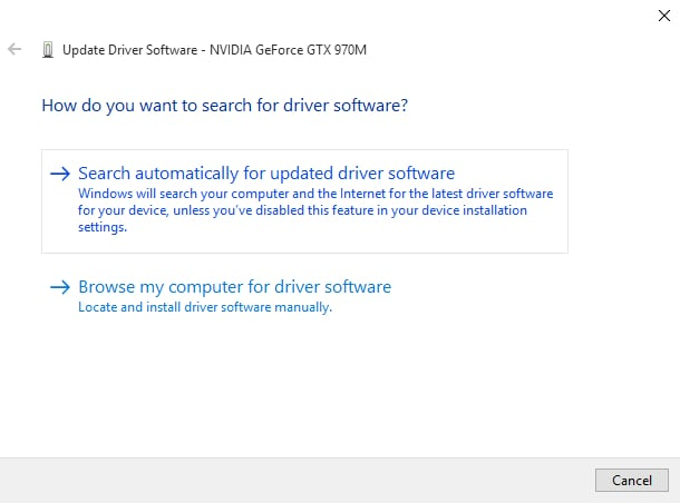 search automatically for updated driver software - NVIDIA