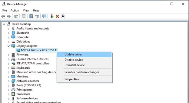 update nvidia device driver