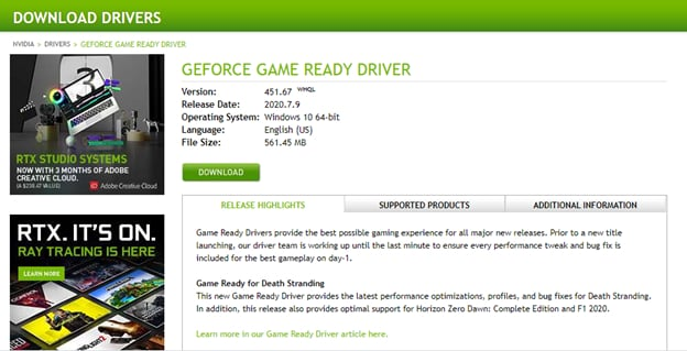 Check nvidia driver details and click Download