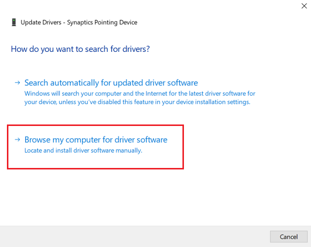 Install Touchpad Driver using Device Manager-2