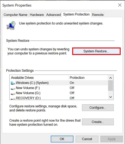 choose system restore from system protection tab