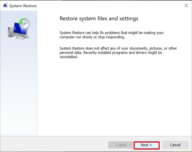 click on next button for system restore