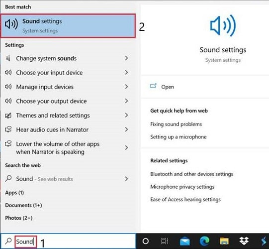 search for sound settings