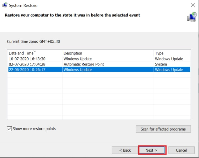 select system restore point and click on next