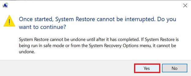 system restore cannot be interrupted