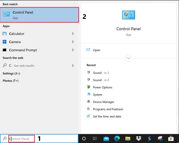 type control panel in start menu