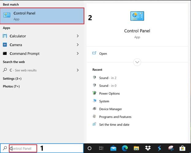 type control panel in start menu