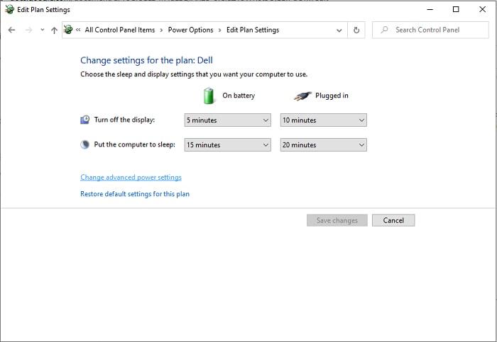 edit power plan setting
