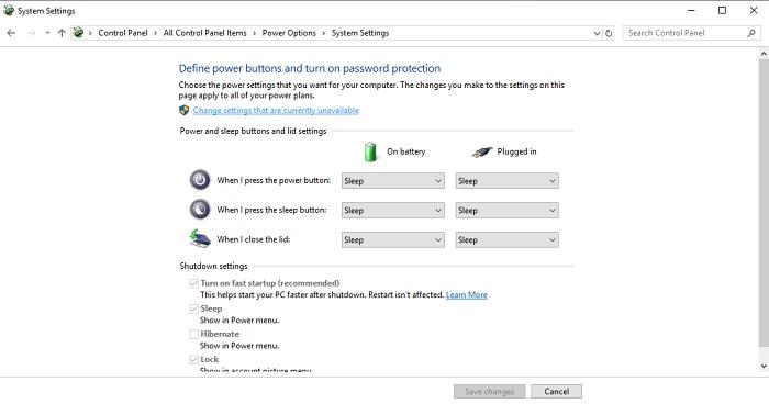 power option system setting