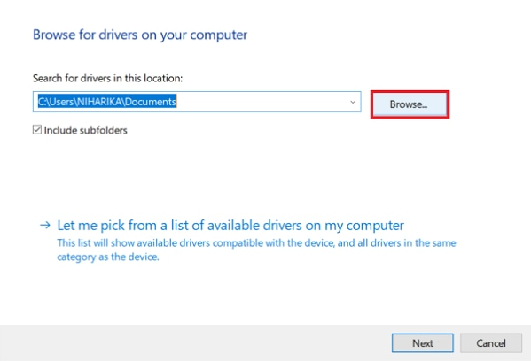 browse for drivers on my computer