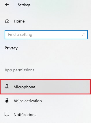 choose Microphone setting option