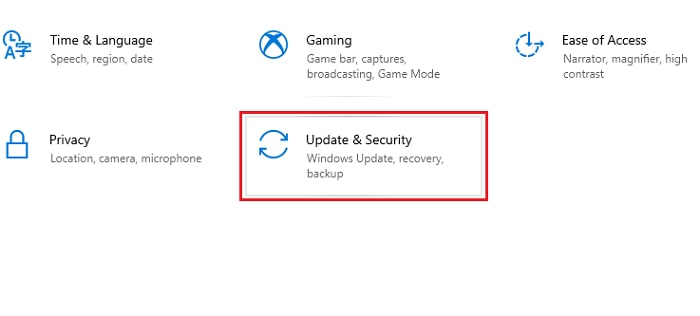 update & security from windows settings