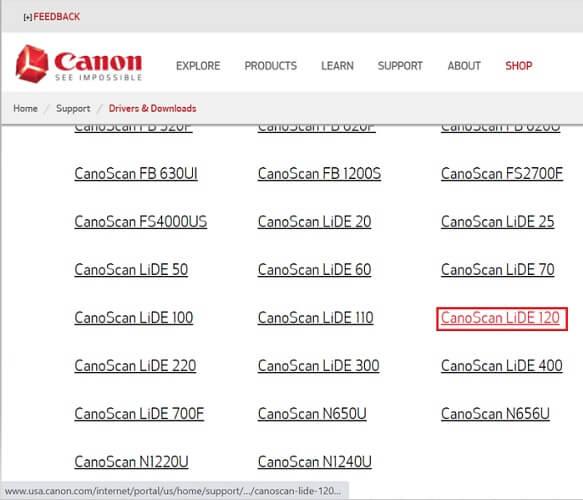 click on CanoScan LiDE 120