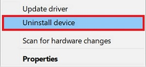 uninstall driver option