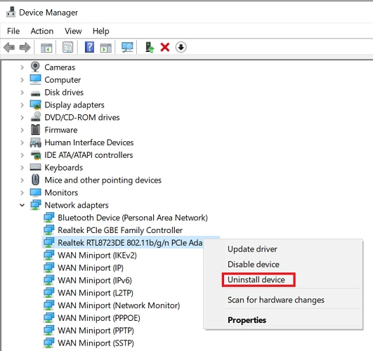 uninstall network device driver