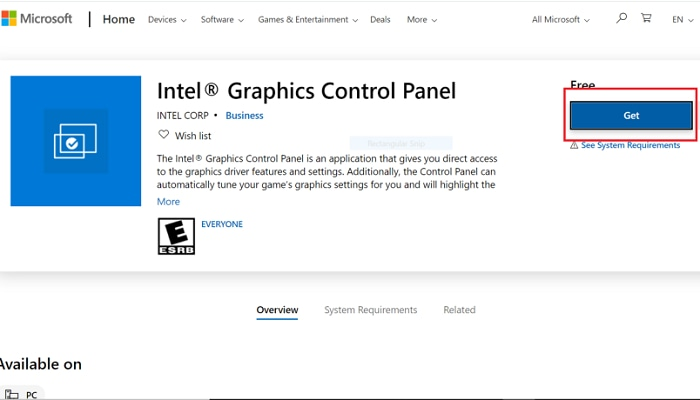 Get to download the Intel HD graphics control panel