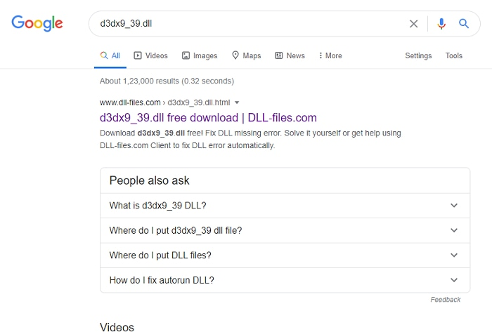 Search for d3dx9_39.dll on the internet