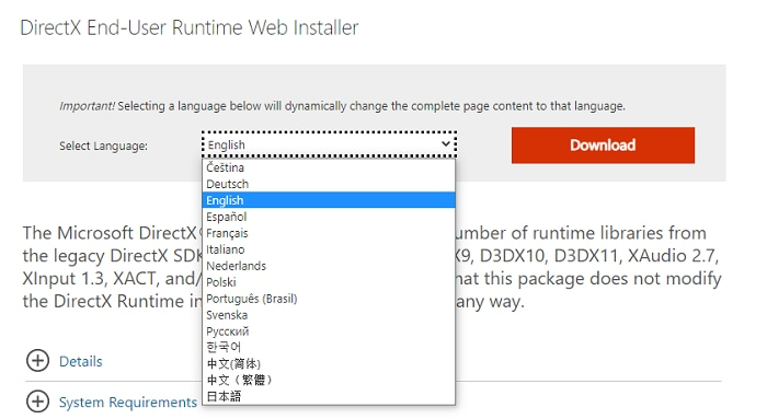 select language for DierectX End-User Runtime web installer