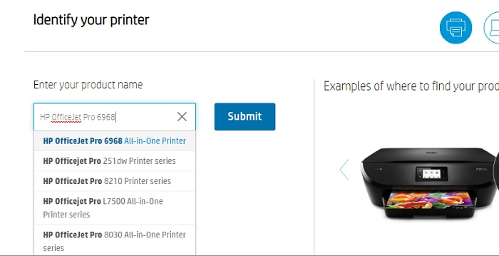 enter product HP OfficeJet Pro 6958
