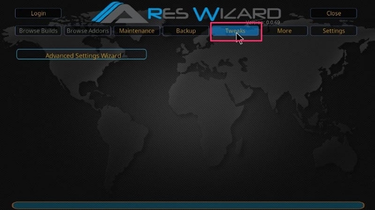 Run Ares Wizard and click on Tweaks in Exodus