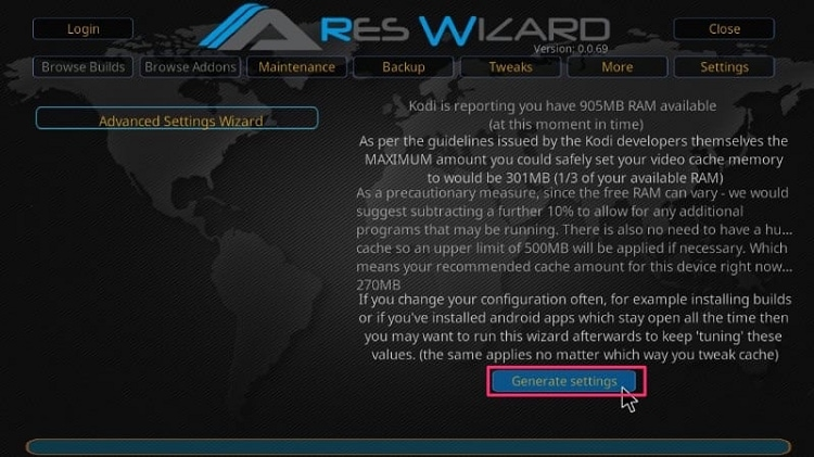 Click on Generate Settings Button for ARES WIZARD Advanced Settings Wizard
