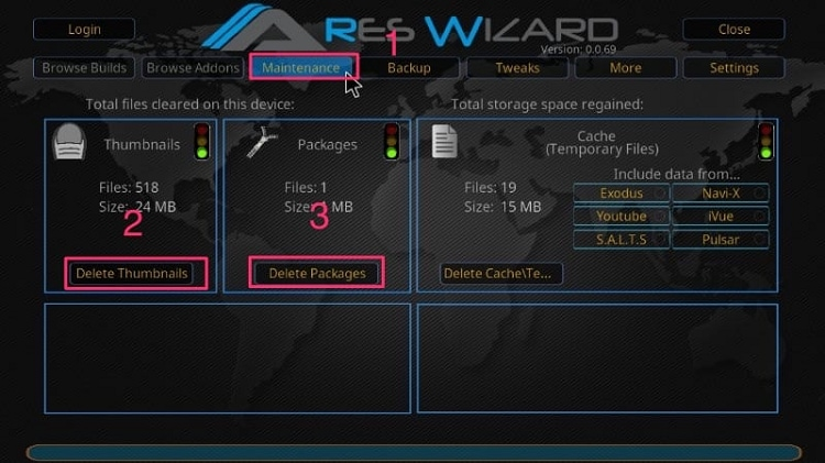 Click on Maintenance Tab in Ares Wizard